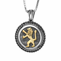 Pendant Sterling Silver w/ Gold 9K Lion of Judah & Black Onyx  Amulet Kabbalah