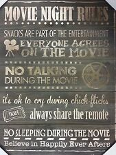 Home Theater Recreation Tv Room Theatre Wooden Wall Decor Movie Night Rules