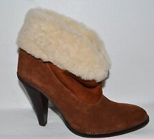 STEVE MADDEN MAYB NEW SZ 9 M BROWN SUEDE SHEARLING CUFF ANKLE BOOTS BOOTIES