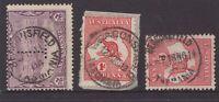 Tasmania Beaconsfield type1,2,3 postmarks on pictorial and Kangaroo
