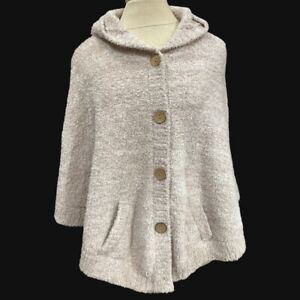 Barefoot Dreams-659/Cozy Chic Cape/Hood-Women Sz8-Polyester-Wheat-4 button front