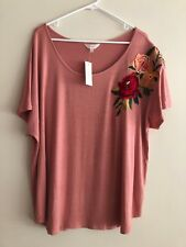 NWT ADIVA Plus Size 2X Pink Embroidered Rose Top Blouse Shirt Womens