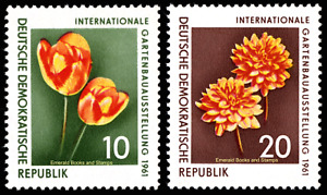 EBS East Germany DDR 1961 - Flowers - Tulip & Dahlia - Michel 854-855 MNH**