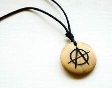 Anarchy Necklace Anarchism Symbol Pendant Wooden Unisex Choker Anarchist Gift