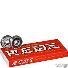 "BONES ""Super Reds"" Skateboard Bearings Longboard Old Skool Cruiser x8 608 8mm"
