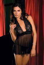 Sexy Elegant & Stylish Rene Rofe Lace & Mesh Halter Babydoll & G-String Black LG