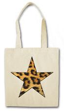 CLASSIC LEOPARD NAUTICAL STAR Hipster Shopping Cotton Bag - Leo Fur Rockabella