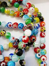 1 Strang handgearbeitete Millefiori Perlen 8 mm, mit Perlen Schmuck basteln