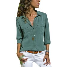 Women Blouse Tops Ladies Holiday Plain Long Sleeve Loose Casual T shirt Solid