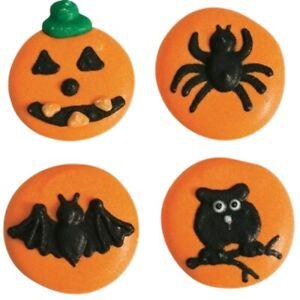 Halloween Button Sugar Pipings Edible Cake Decorations x 12