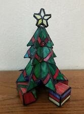 Vintage Leaded Stained Glass Decorated Christmas Tree Lighted Lamp Decor