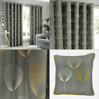 Grey Floral Curtains Abstract Floral Print Lined Eyelet Ring Top Curtains Pair