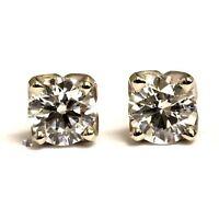 GIA certified 14k white gold .64ct SI1 F round diamond earrings .8g estate