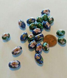 35 VINTAGE Cloisonne Beads MIX  Blue 14x10 & Green 11x9 Cloisonne Eggs  N O S +