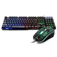 LED Mechanical Gaming Keyboard 104 Keys +2000 DPI Adjustable Mouse Wired Backlit