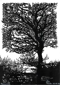 original drawing A3 71PV art by samovar Ink sketch landscape Signed