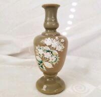 Antique Victorian Clambroth Bristol Glass Vase Enamel Flowers