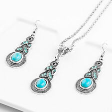 Fashion Woman Turquoise Pendant Necklace Earring Women Silver Plated Jewelry Set