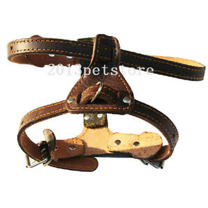 NEW Dog Harness Handcrafted Soft Leather Pitbull pet black brown medium Large