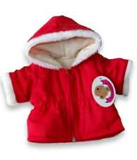 Teddy Bear Vêtements Fits Build a Bear Ours Rouge Veste à capuche blanc funfur Trim