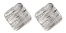CLIP ON EARRINGS - silver luxury earring with clear crystals - Clara