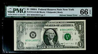 GEM 1988A $1 FEDERAL RESERVE NOTE-MAJOR SOLVENT SMEAR ERROR-PMG #66 EPQ GEM RARE