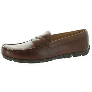 Vince Camuto Mens Leather Slip On Almond Toe Loafers Shoes BHFO 1573