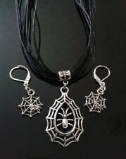 Spiders Web Necklace & Earrings Gothic Set 34x22mm Free P&P
