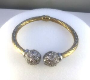 9ct Gold Cubic Zirconia Balls Ladies Twisted Hinged Bangle  4.5mm  15.5gms NEW