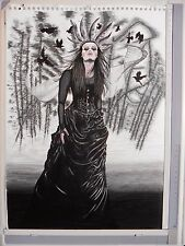 BJD Goth Warrior Woman Crows Portrait Art Signed Original pen&Ink Drawing  A3