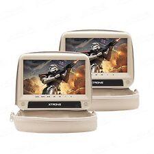 Coppia Monitor Poggiatesta 9 Xtrons HDMI Beige DVD USB SD Mp3 Rimovibile