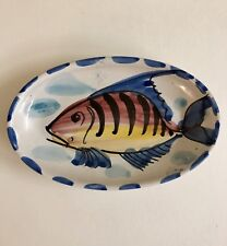 """Vietri Oval Al Mare Fish 8"""" x 5"""" Plate Dish  Hand Painted Italy"""