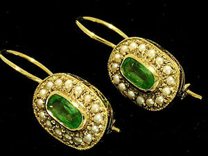 E127 Genuine 9ct Yellow Gold Natural Emerald & Pearl Oval Cluster Earrings