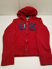 Boys Youth Abercrombie Kids Muscle Red Full Zip Hoodie Jacket Size Medium