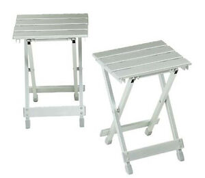 Aluminium Slat Folding Stool Portable Strong Light Metal Camp Fishing Caravan