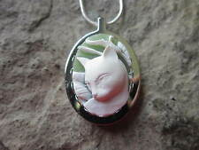 STAINLESS STEEL CAT CAMEO URN NECKLACE - ASHES, LOCK OF FUR, BELOVED CAT, 3