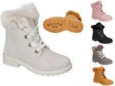 Damen Boots Stiefel Stiefeletten Biker Schnür Schuhe warm gefüttert A6090