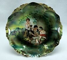 RARE Signed R.S. Prussia Two Handle Cake Plate  Dice Throwers Pattern