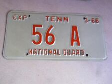 """RARE ORIGINAL LOW NUMBER """"56 A"""" 1988 TENNESSEE NATIONAL GUARD LICENSE PLATE"""