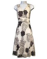 RJR ELEGANT LADIES DRESS CREAM VISCOSE FLORAL SILK WEDDING PARTY WOMEN UK 10