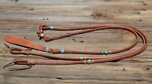 Jose Ortiz Flat Harness Leather Romel Reins Braided Rawhide Knots - Turquoise