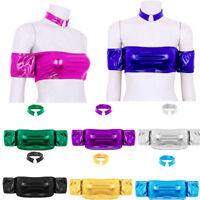 Women Shiny Strapless Bra Short Sleeves Bandeau Tube Crop Top Collar Choker Vest