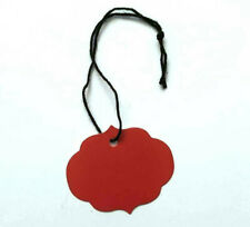 100 Red Merchandise Price Tags Strung Small Ornate Oval crimson