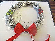 Grapevine Silver Wreath. Handsome. Homemade with Ribbon & Decorative Balls. New.