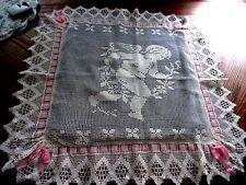 Antique Victorian English Crochet Lace Pillow Sham