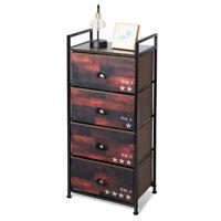4 Drawer Fabric Dresser Storage Tower Nightstand w/Steel Frame for Bedroom