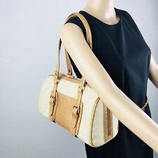 Liz Claiborne Canevas Leather Beige Tan Shoulder Bag Satchel Barrel Bag