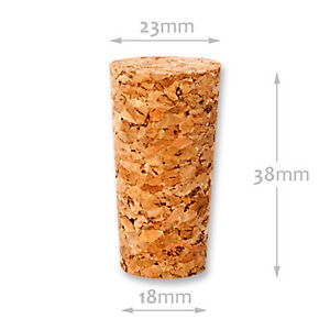 Natural corks stoppers bung 18 x 23 (Ø-18/23) L=38mm