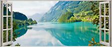 Huge 3D Panoramic Enchanting Exotic Lake Window View Wall Stickers Mural 274