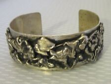 """signed midcentury STERLING SILVER BRUTALIST CUFF thick 1"""" wide bracelet 63g 925"""
